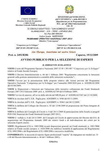 Bando PON Cod. Naz. Progetto C-1-FSE-2009-946 - Istituto ...