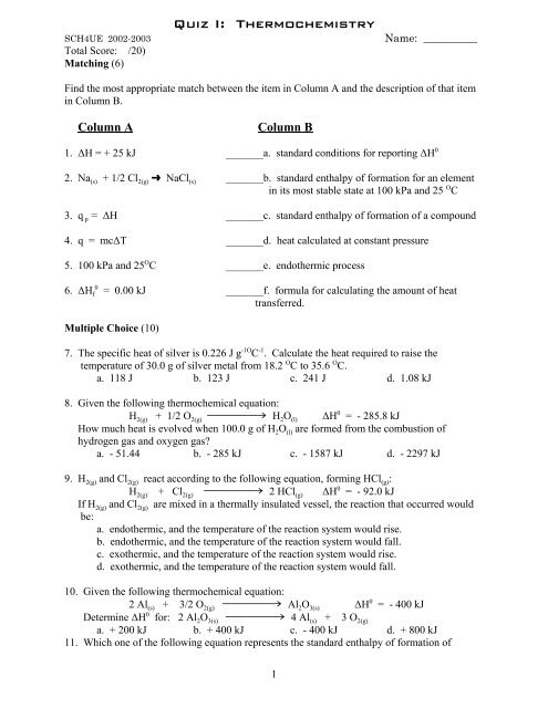 Quiz-Thermochemistry I-02-03 pdf - Savita Pall and Chemistry