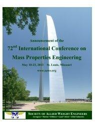 72 International Conference on Mass Properties Engineering
