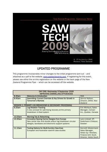 UPDATED PROGRAMME - SawTECH Events
