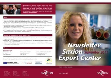 Newsletter Saxion Export Center September 2011