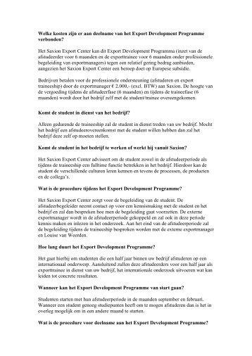 Welke kosten zijn er aan deelname van het Export Development ...