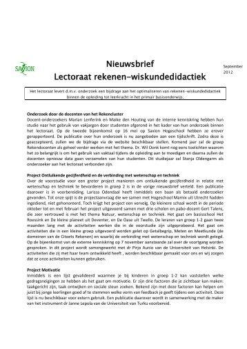 Nieuwsbrief september 2012 - Saxion Hogescholen