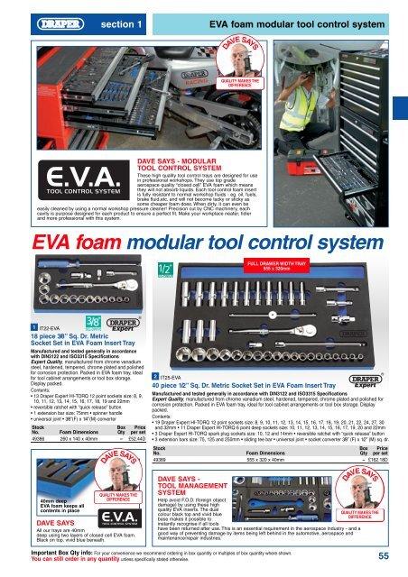 "Draper Expert 1//2/"" Sq Dr Impact Socket Set in 1//4 Drawer EVA Insert Tray 15 Pc"