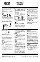 APC Back-UPS Pro 1000/1100/1400 User's Manual