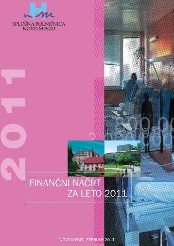 """FINAN Ã""""ÂŒNI NAÃ""""ÂŒRT ZA LETO 2011 - SploÃ…Â¡na bolniÃ…Â¡nica Novo mesto"""