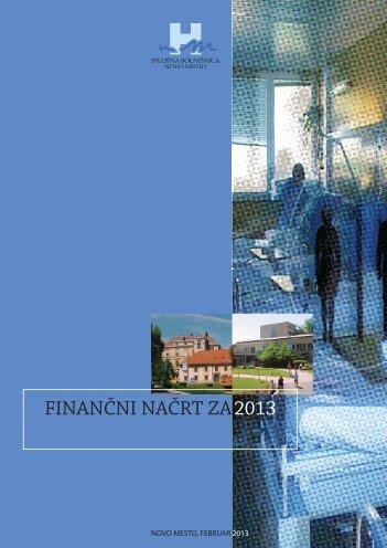 Finančni načrt 2013 - Splošna bolnišnica Novo mesto