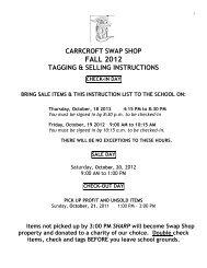 CARRCROFT SWAP SHOP FALL 2012 ... - Brandywine School District