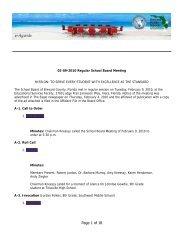 02-09-2010 Regular School Board Meeting on Tuesday, February ...