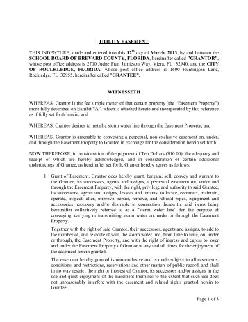 Individual Easement Form - Escambia County Utilities Authority