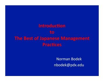 IntroducYon to The Best of Japanese Management PracYces