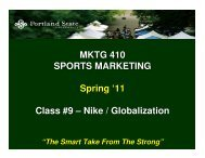 MKTG 410 SPORTS MARKETING Spring '11 Class #9 – Nike ...
