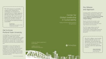 Center for Global Leadership in Sustainability - School of Business ...