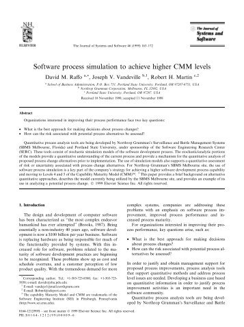 Software process simulation to achieve higher CMM levels