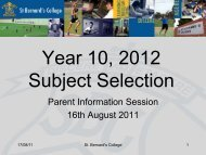 Year 10, 2012 Subject Selection - St Bernard's College