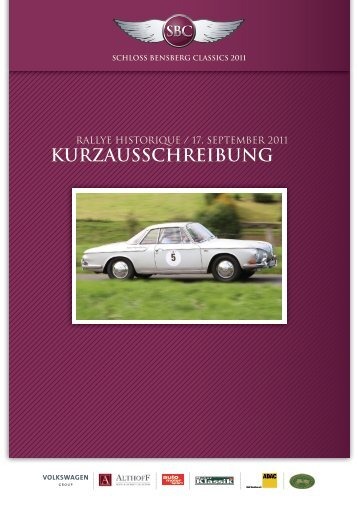 KURZAUSSCHREIBUNG - Schloss Bensberg Classics