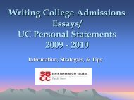 Writing College Admissions Essays/ UC Personal Statements 2009 ...