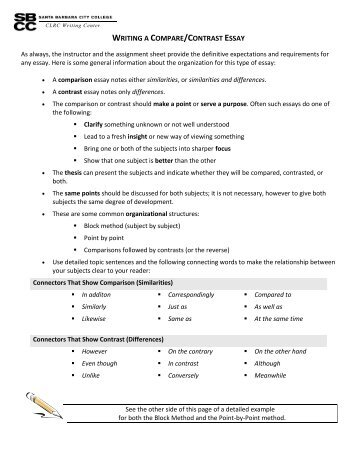 essay compare and contrast assignment in class gordon state  writing a compare and contrast essay