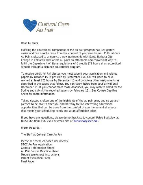 form 965 for partnerships  Dear Au Pairs, - Santa Barbara City College