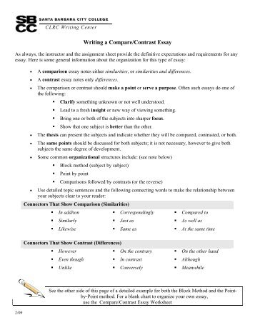 writing a comparecontrast essay - Comparison Essay Thesis Example