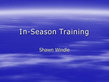 In-Season Training - sbc