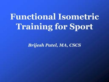 Functional Isometric Training for Sport - sbc