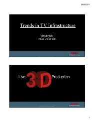 Trends in TV Infrastructure - Society of Broadcast Engineers