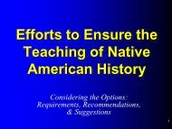 Efforts to Ensure the Teaching of Native American History