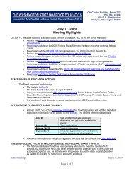 July 17, 2009 Meeting Highlights - Washington State Board of ...