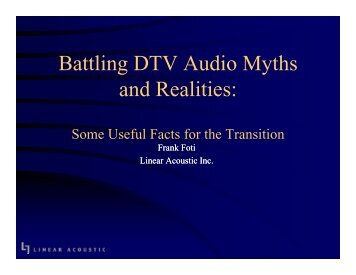 Battling DTV Audio Myths d R liti and Realities: - SBE Chapter 24