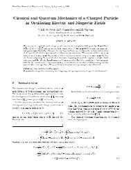 Classical and Quantum Mechanics of a Charged Particle in ...