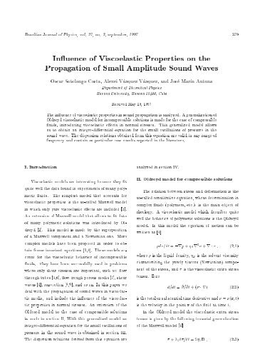 In uence of Viscoelastic Properties on the Propagation of Small ...
