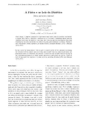 A F sica e as Leis da Dial etica - Sociedade Brasileira de Física