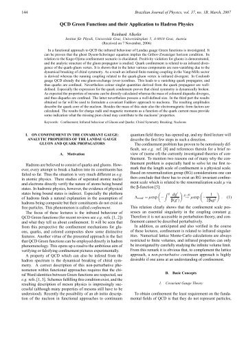 QCD Green Functions and their Application to Hadron Physics