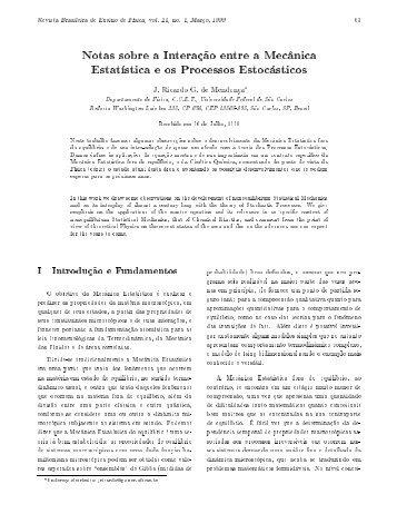 Notas sobre a Interação entre a Mecânica Estatística e os Processos ...