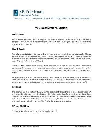 Tax Increment Financing (TIF) - SB Friedman & Company