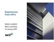 Experiences from InPro