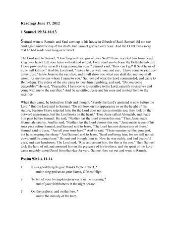 Readings June 17, 2012 1 Samuel 15:34-16:13 Psalm 92:1-4,11-14