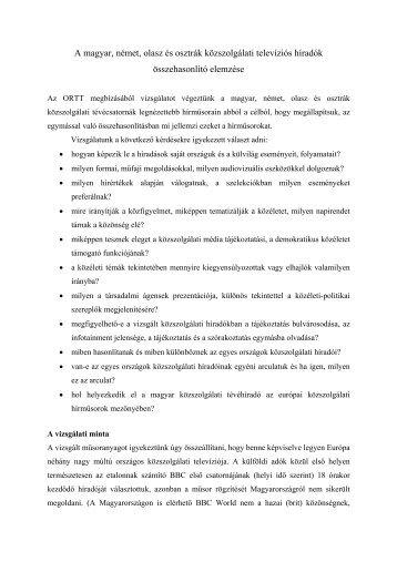 A magyar, német, olasz és osztrák közszolgálati televíziós ... - ORTT