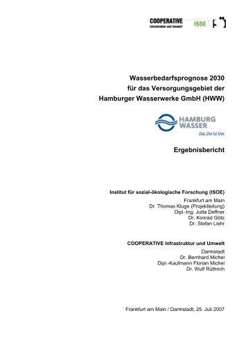 Wasserbedarfsprognose 2030 für das Versorgungsgebiet der ...