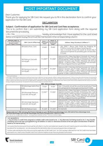 Download Form - SBI Credit Card India