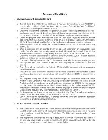 Terms and Conditions - SBI Credit Card India