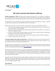 SBI Cards Launches New Platinum Offering - SBI Credit Card India