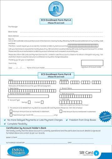 ECS Enrollment Form - SBI Credit Card India