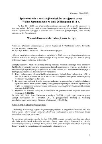 Sprawozdanie z realizacji wniosków przyjętych przez Walne ...