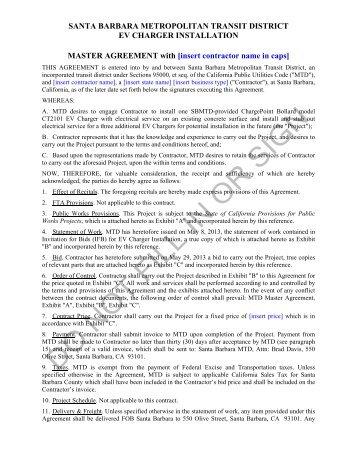 Mtd Master Agreement For Service Vehicles Ifb Mtd Santa Barbara