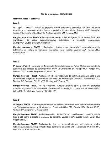 Ata de premiação - Sociedade Brasileira de Pesquisa Odontológica