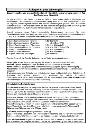 Ruhegehalt plus Witwengeld - SBR-Telekom-Neustadt