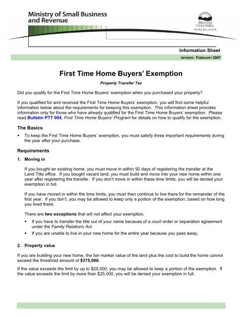 First Time Home Buyers Information Sheet