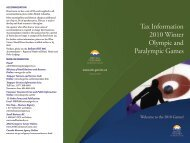 Tax Information 2010 Winter Olympic and Paralympic Games